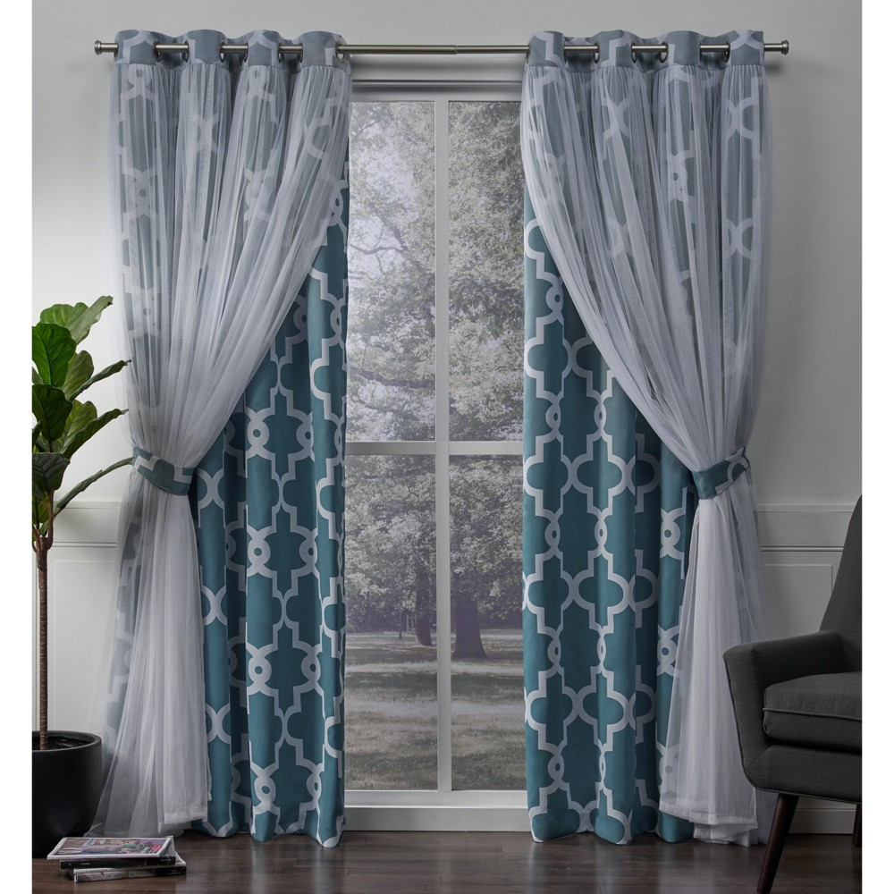 Alegra Layered Geometric Woven Blackout with Sheer Top Curtain panels Turquoise 52x96 - Exclusive Home, Blue