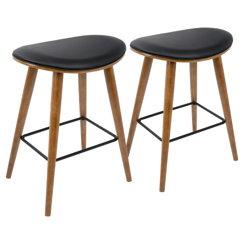 Pleasing Saddle 26 In Mid Century Modern Counter Stool Set Of 2 Lumisource Squirreltailoven Fun Painted Chair Ideas Images Squirreltailovenorg