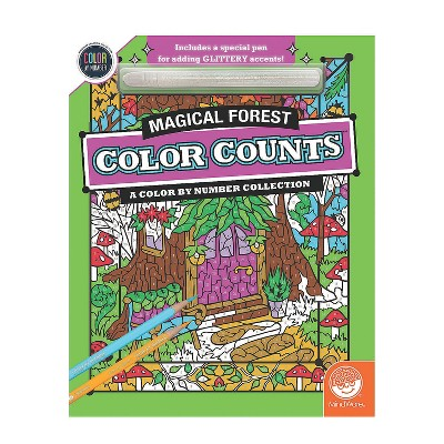 MindWare Color By Number Color Counts: Glitter Magical Forest - Coloring Books