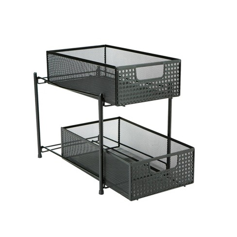 Two Tier Metal Mesh Heavy Duty Slide Out Drawer Basket Organizer - Mind Reader - image 1 of 4