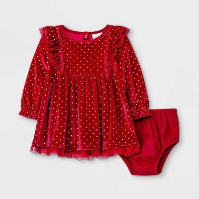 Baby Girls' Velour Dot Dress - Cat & Jack™ Berry Red