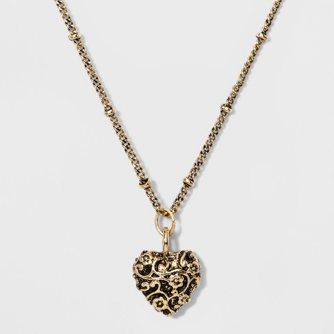 Floral Patterned Poof Heart Pendant Necklace - Wild Fable™ Gold - image 1 of 2