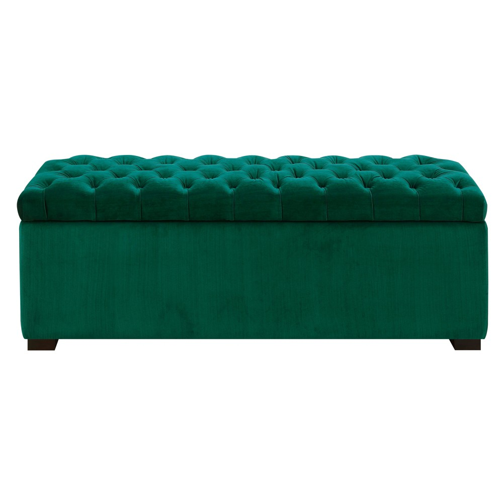 Carson Shoe Storage Bench Deep Emerald - Picket House Furnishings The Picket House Furnishings Carson Shoe Storage Bench will look great in numerous places! Display this vibrant piece in the entryway, bedroom or closet. This storage bench comes with a shoe divider inside, which can easily be removed if you choose to store blankets instead. The rich, velvet fabric adds instant glamour to this storage piece; while the jewel tone color makes it easy to display in any room. Color: Deep Emerald. Gender: Unisex.