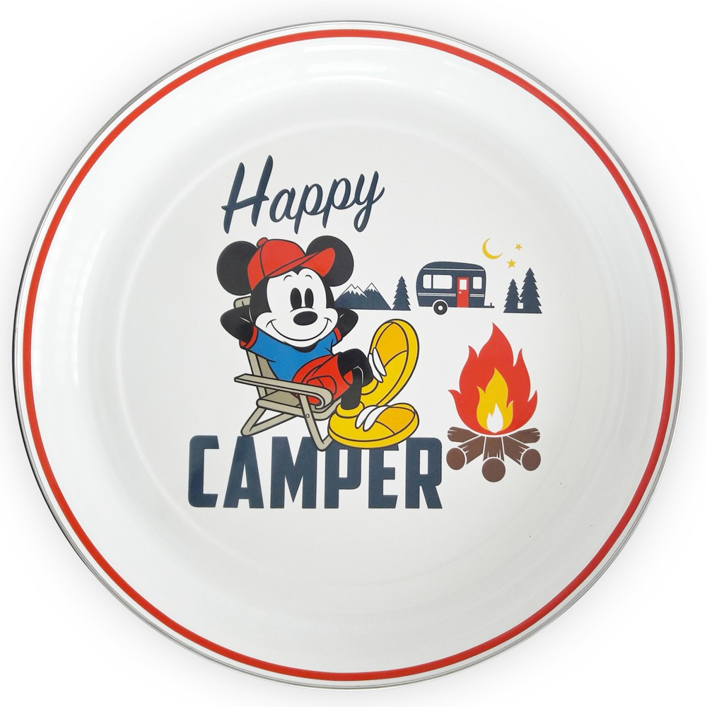 Mickey Mouse & Friends Mickey Mouse Stainless Steel Happy Camper Serving Tray 16 - White/Red, Multi-Colored