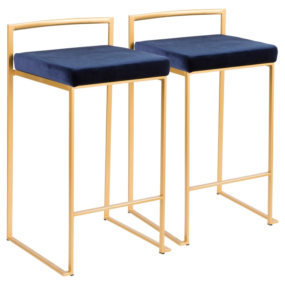 Fuji 26 In Contemporary Stackable Counter Stool Gold with Blue Velvet Cushion (Set of 2) - Lumisource