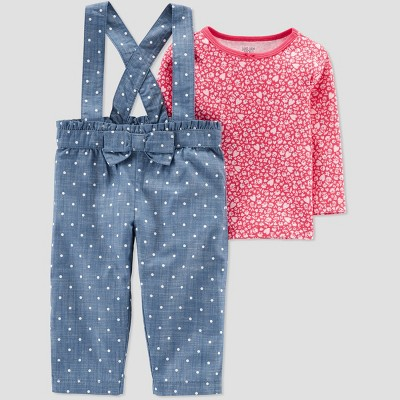Baby Girls' 2pc Polka Dot Overall Set - Just One You® made by carter's Blue/Red 6M