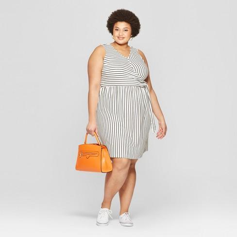 494f742f0f6 Women s Plus Size Striped Sleeveless V-Neck Knit Tie Detail Dress - Ava    Viv™ Black White
