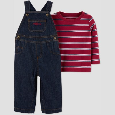 Baby Boys' 2pc Stripe Denim Overall Set - Just One You® made by carter's Red 3M