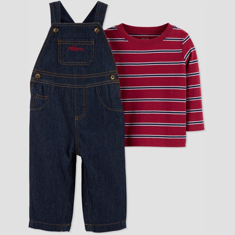 Baby Boys' 2pc Stripe Denim Overall Set - Just One You made by carter's Red Newborn