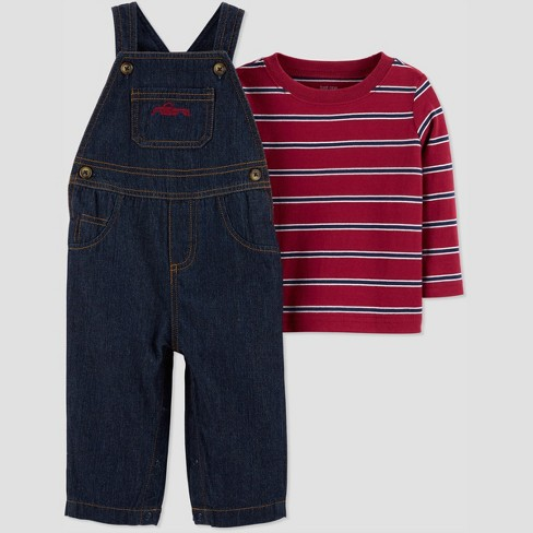 Baby Boys' 2pc Stripe Denim Overall Set - Just One You® made by carter's Red - image 1 of 1
