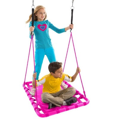 HearthSong - Mega Mat Rectangular Platform Tree Swing for Kids with Thick, Webbed Matting and Steel Frame