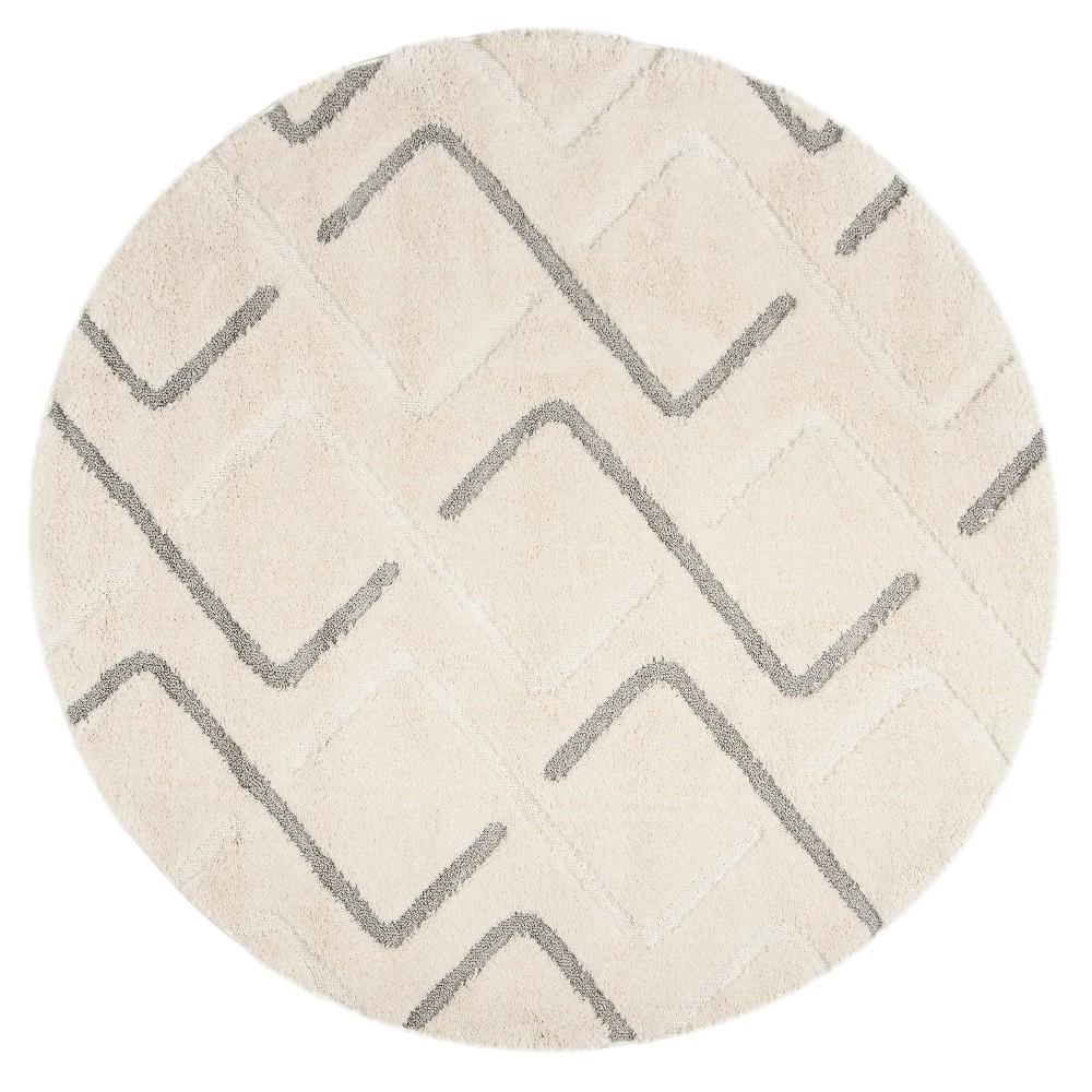 Cream/Gray Geometric Loomed Round Area Rug 6'7 - Safavieh, Creamngray