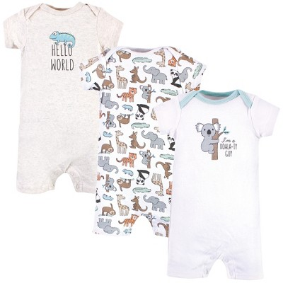 Hudson Baby Infant Boy Cotton Rompers, Zoo Animals
