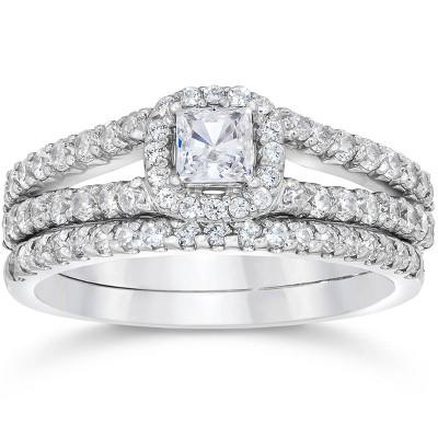 Pompeii3 1 Carat Princess Cut Diamond Halo Engagement Wedding Ring Set White Gold