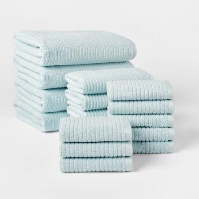 16pk Quick Dry Bath Towel Starter Bundle Aqua - Threshold™