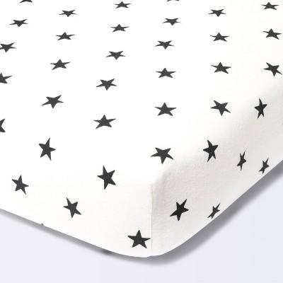 Flannel Fitted Crib Sheet Stars - Cloud Island™ - Cream/Black