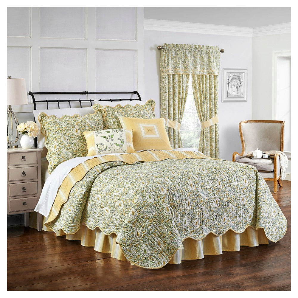 Green & Yellow Paisley Verveine Quilt Set (Twin) 4pc - Waverly, Green Yellow