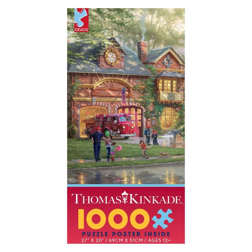 Ceaco 1000Pc Thomas Kinkade Hometown Firehouse Jigsaw Puzzle