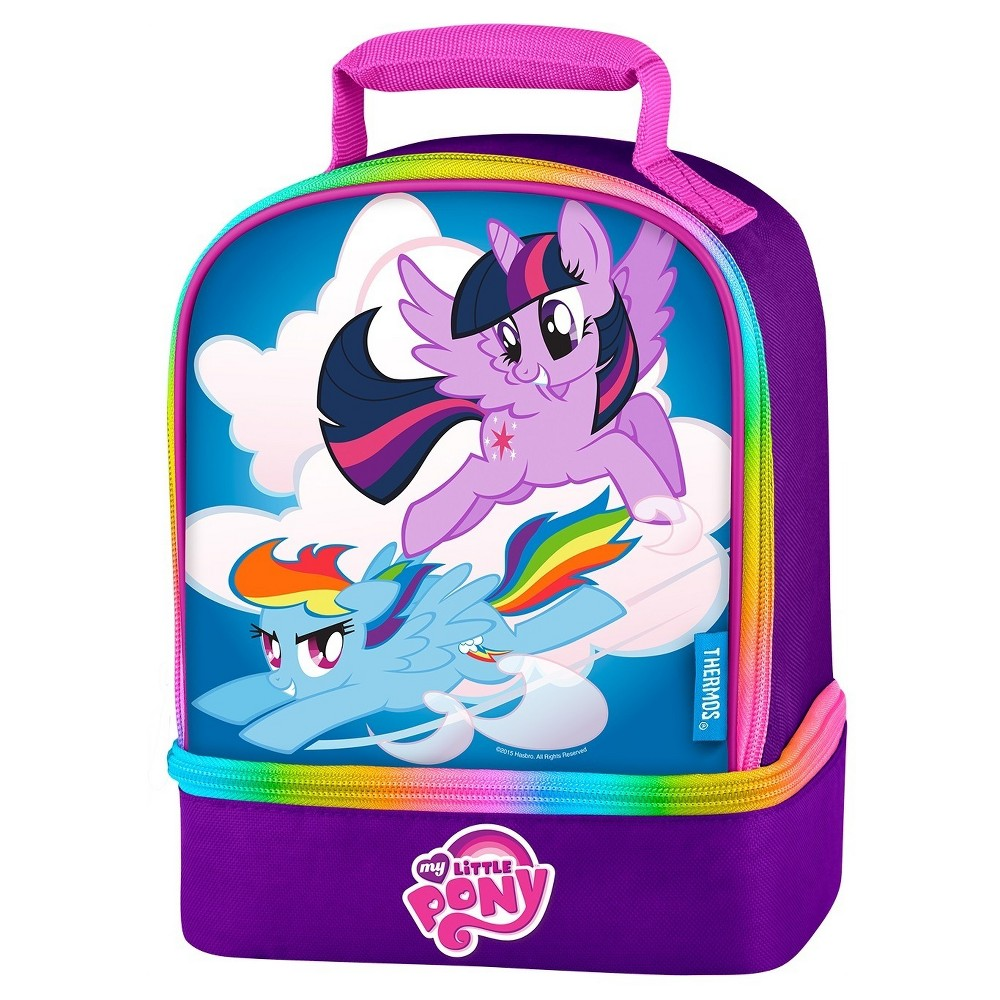 Thermos Dual Compartment Lunch Kit, My Little Pony, Purple Gray The dual compartment lunch kit from Genuine Thermos Brand is a great choice for kids to take their lunch to school. Decorated with bright colors and detailed screen printed graphics, this lunch kit features a comfortable, padded carrying handle and premium foam insulation to keep lunches cool and fresh for longer. The dual compartments allow for storing items separately to help avoid crushing lunches. Additionally, this lunch kit features a multi-colored zipper for an unexpected touch of color. Color: Purple Gray. Pattern: Superheroes Princess.
