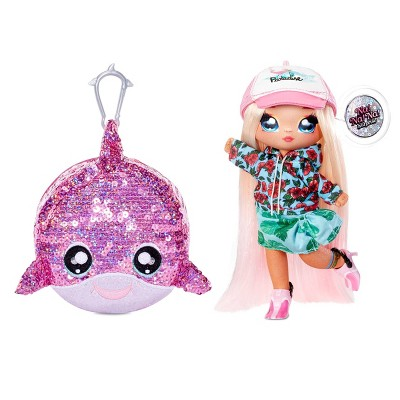 """Na! Na! Na! Surprise 2-in-1 Fashion Doll and Sparkly Sequined Purse Sparkle Series – Krysta Splash 7.5"""" Surfer Doll"""