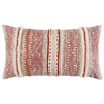 """14""""x26"""" Poly Filled Striped Throw Pillow Rust - Rizzy Home"""