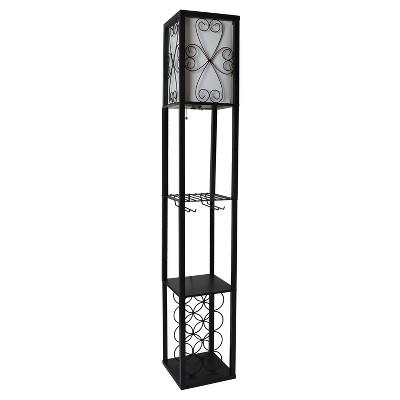 Etagere Organizer Storage Shelf Floor Lamp with Linen Shade Black - Simple Designs