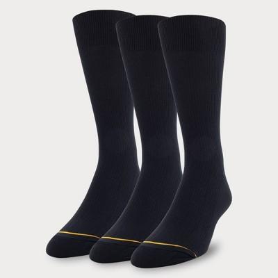 Signature Gold by GOLDTOE Men's Nylon Rib Crew Socks 3pk - Black 6-12.5