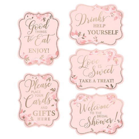 Set Of 5 Bridal Shower Signs Pink