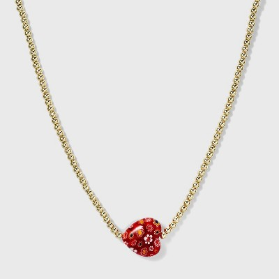 SUGARFIX by BaubleBar Gold Beaded Heart Pendant Necklace - Red