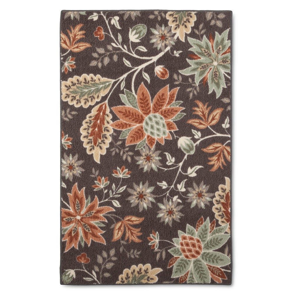 Image of 2'6X4' Floral Accent Rug Gray - Maples