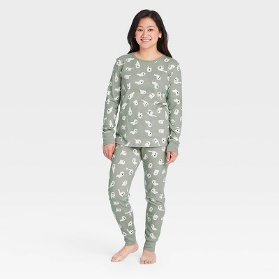 Women's Halloween Ghost Print Matching Family Pajama Set - Gray
