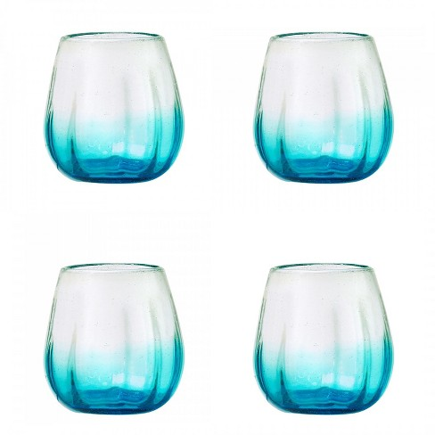 Amici Home Rosa Light Blue 16 oz Mexican Glass Drinkware, Set of 4 Stemless Wine Glasses - image 1 of 3