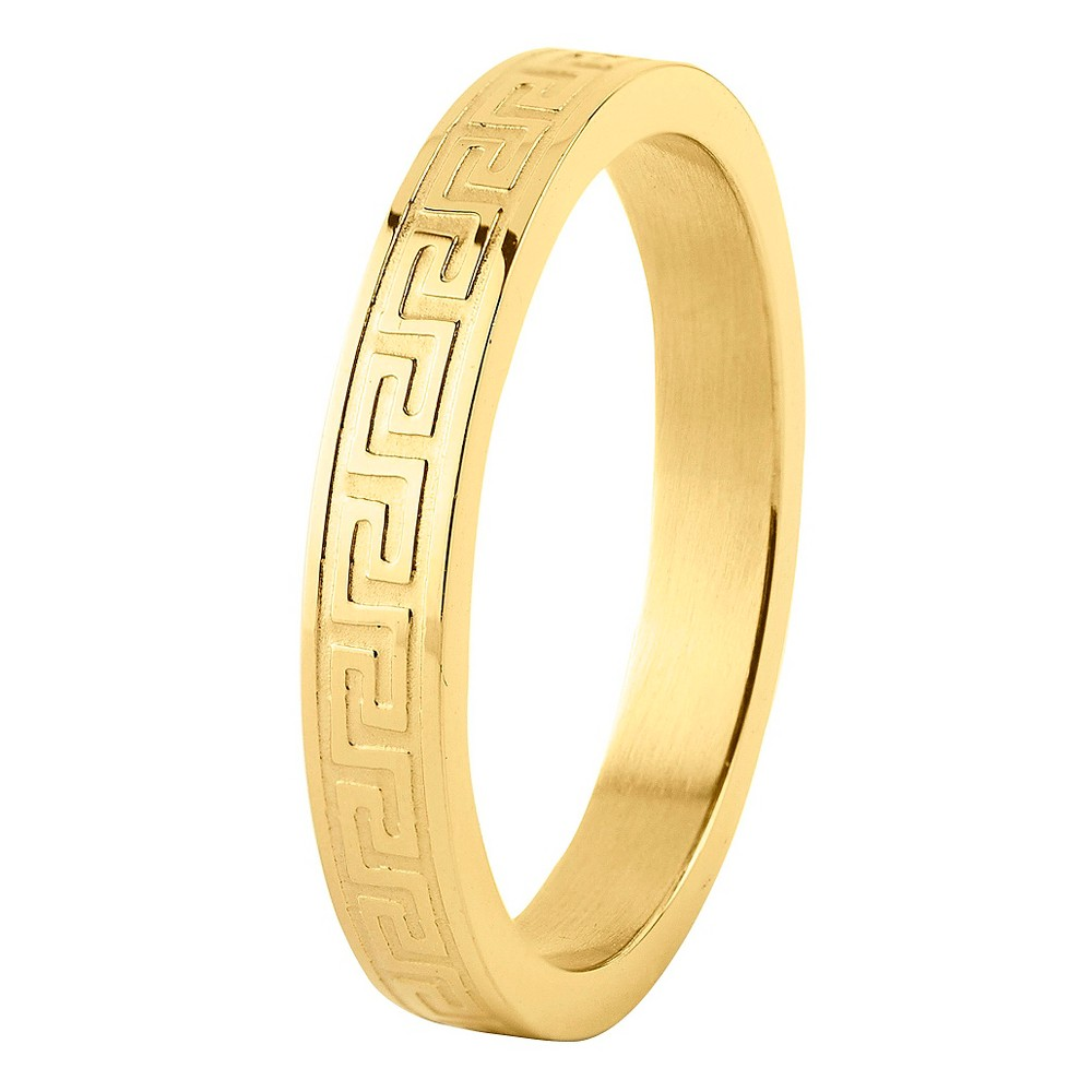 Men's Gold Plated Stainless Steel Dual Finish Greek Key Ring (4mm) - Gold ( 10)