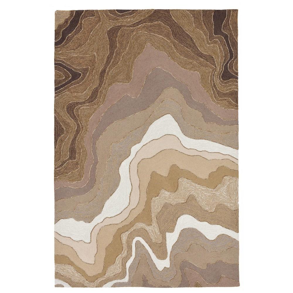 "Image of ""Beige Marble Tufted Round Area Rug - (8'3""""X11'6"""") - Liora Manne"""