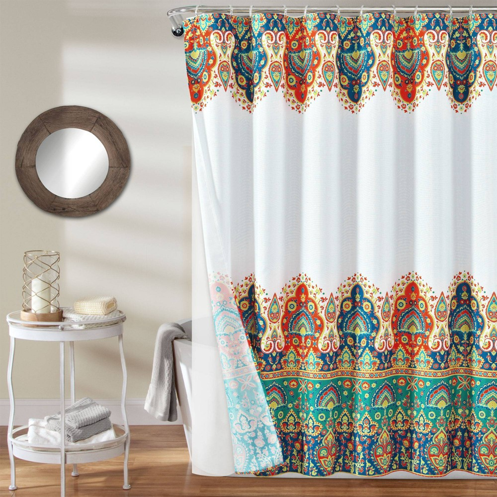 Image of 14pc Bohemian Meadow Shower Curtain with Peva Lining and Rings Orange/Turquoise - Lush Decor