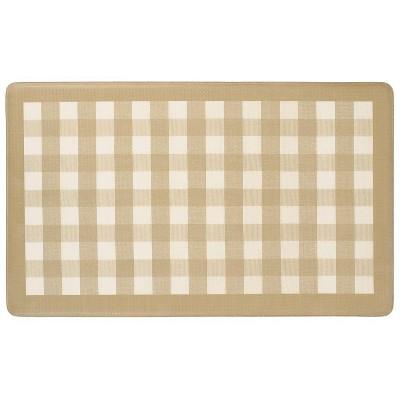 "1'8""x2'6"" Rectangle Plaid PVC (Polyvinyl Chloride) Floor Mat Beige - GoodGram"