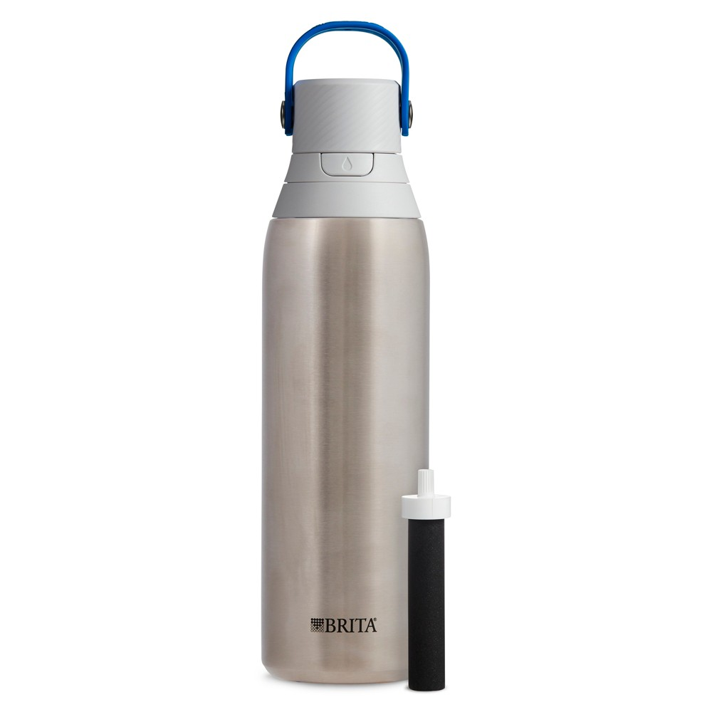 Image of Brita Premium 20oz Filtering Double Wall Insulated Water Bottle with Filter BPA Free - Stainless Steel, Silver