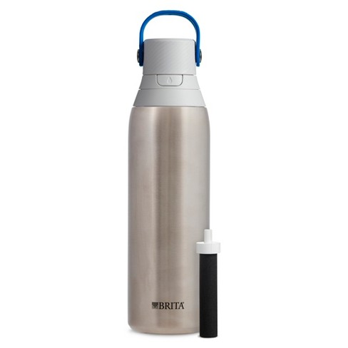 Brita Premium 20oz Filtering Double Wall Insulated Water Bottle with Filter BPA Free - Stainless Steel - image 1 of 4