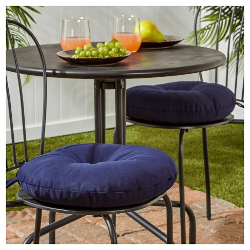 Set Of 2 Outdoor Bistro Chair Cushion Navy Greendale Home