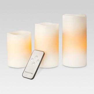 3pk LED Pillar Candle Bisque - Threshold™