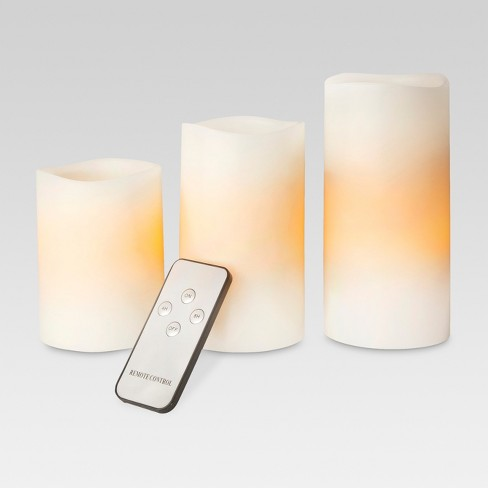 3pk LED Pillar Candle Bisque - Threshold™ - image 1 of 6