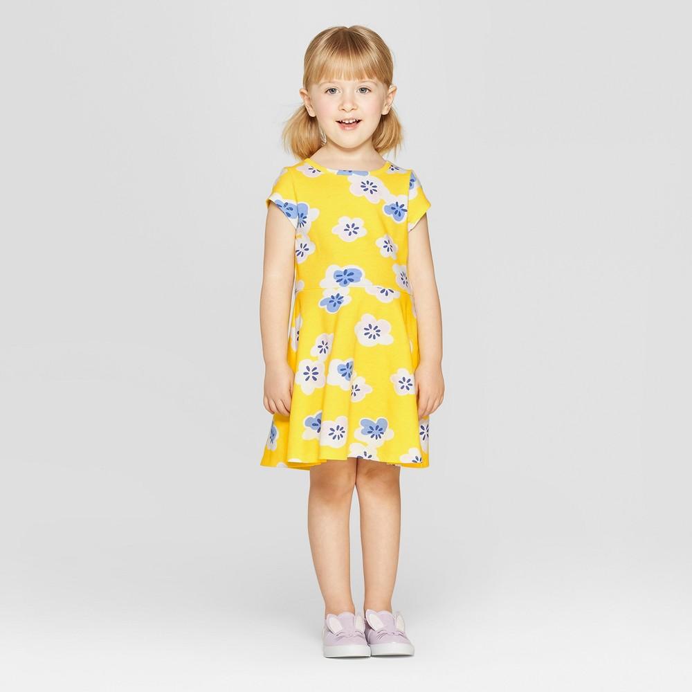 Toddler Girls' Floral Dress - Cat & Jack Yellow 4T