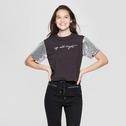 51378281 Women's Short Sleeve Up All Night Glitter Cropped Graphic T-Shirt - Mighty  Fine (
