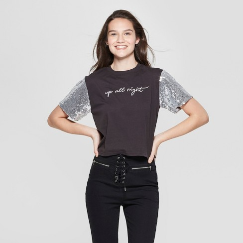 98340a43 Women's Short Sleeve Up All Night Glitter Cropped Graphic T-Shirt - Mighty  Fine (Juniors') Black/Silver