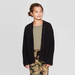 Girls' Cable Knit Open Front Cardigan - art class™