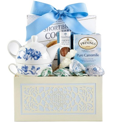 1-800-Baskets Tea Gift Basket, Includes Twinings Camomile tea, stoneware blue flower tea pot and cup