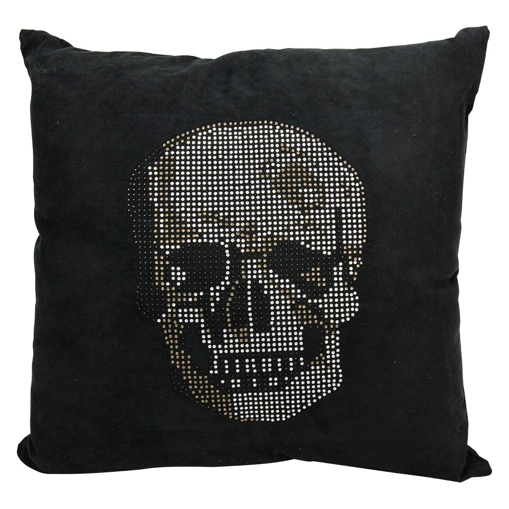 Image of Luminecence Rhinestone Skull Square Throw Pillow Black - Mina Victory