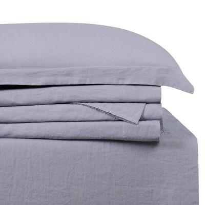 Queen Linen 300 Thread Count Solid Sheet Set Gray - Brooklyn Loom
