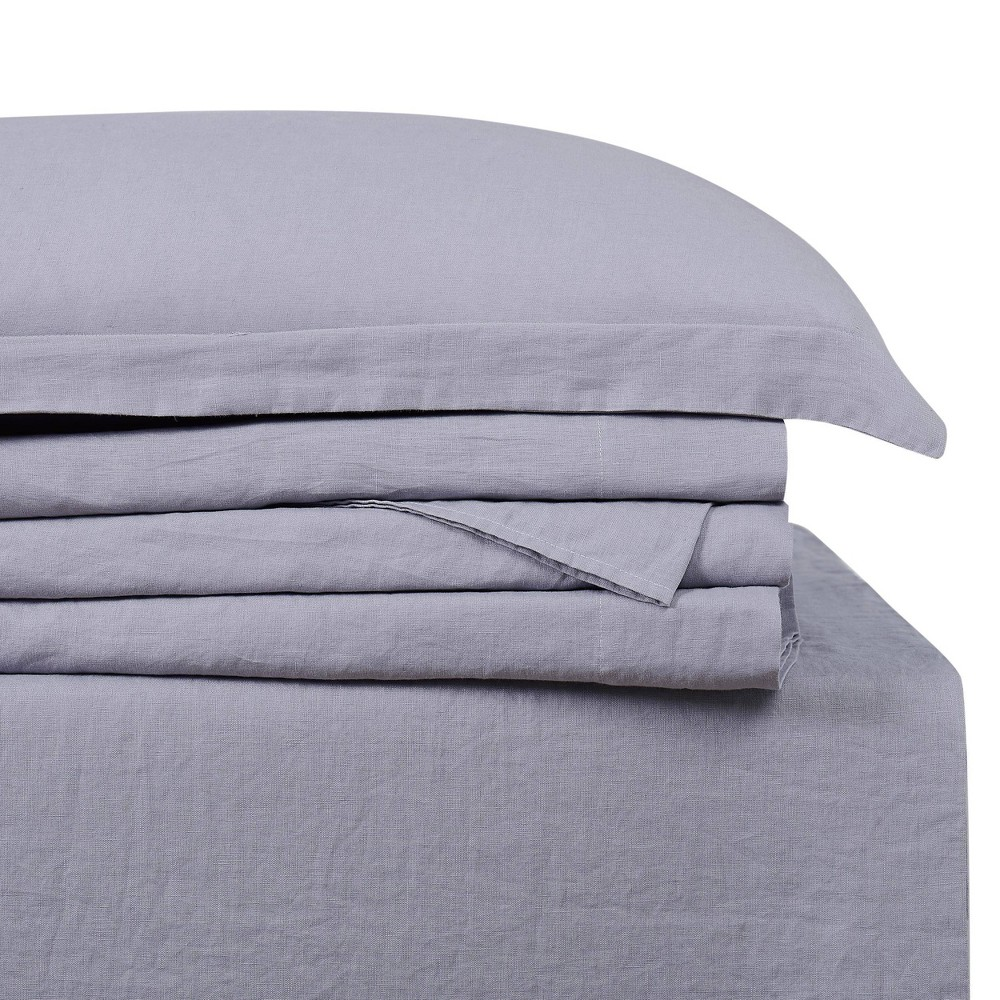Image of California King 300 Thread Count Linen Solid Sheet Set Gray - Brooklyn Loom