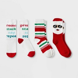 Kids' Santa 3pk Crew Socks - Wondershop™ Red